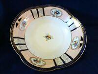 Vintage * Made in Japan * Serving Bowl-Royal Blue/Gold Trim-Cutouts-Floral-EUC