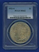 1921 S PCGS MS62 Morgan Silver Dollar $1 Better Date 1921-S PCGS MS-62 PQ Coin