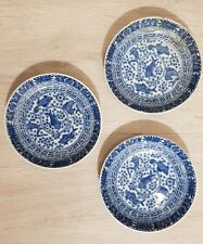 3x Antique Chinese blue and white porcelain Saucers Plate with Fish Marked