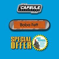 """FREE MANDO OFFER!! Vintage Kenner STAR WARSBoba Fett name Capsule 4"""" patch"""