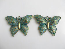 2 x Large Antique Greek Bronze Butterfly Charms Pendants For Jewellery Making