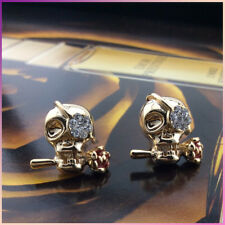 18K Gold Plated 3D Punk Skull Head Face Skeleton flower with crystal  stud earri