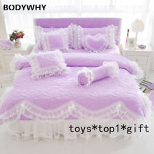 Lace Bedding Set King Queen Twin Size Bed Set Princess Korean Girl Bed Skirt Set