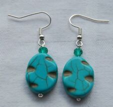 Beautiful handmade gemstone earrings blue turquoise carved oval beads +stoppers
