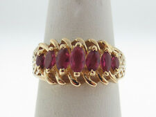 Marquise Cut Natural Red Rubies Solid 10K Yellow Gold Ring FREE SIZING