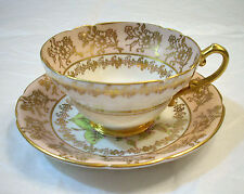 STANLEY FINE BONE CHINA ENGLAND PEACH & GOLD COLOR YELLOW ROSE TEA CUP & SAUCER