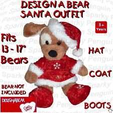DESIGN A BEAR RED SANTA OUTFIT - HAT, COAT, BOOTS - CLOTHES COSTUME BUILD TEDDY