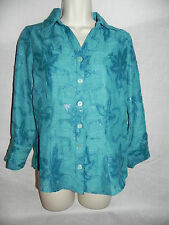Coldwater Creek Petite 4 PXS Button Front Shirt Teal Crinkle Shimmer NWT $59.5