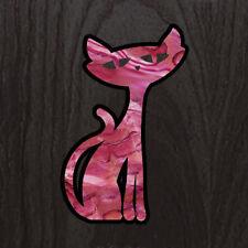 Rocat ( Abalone Pink ) Rockabilly Cat Inlay Sticker Decal Guitar & Bass, Ukulele