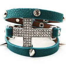 Turquoise Leather Cross Wrap Around Bracelet Crystal Rhinestone Studs Spike
