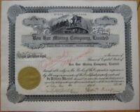 Saltese, Montana MT 1905 Stock Certificate: 'Ben Hur Mining Company'