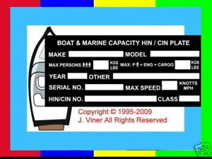 HIN CIN CAPACITY PLATE BOAT MARINE CRAFT DINGY JET SKI  V.I.N.PLATE ESSENTIALS