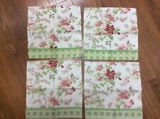 WAVERLY NAPKINS SET OF 4 BEIGE FLORAL PINKS GREEN REDS ACCENT TRIM COUNTRY CHARM