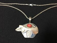 NIB Navajo Tommy Jackson Sterling Silver Bear Red Coral Necklace FS