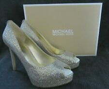 MICHAEL KORS Erika Platform Pump Silver Glitter Leather Shoes US 8.5 EU 39.5 NWB