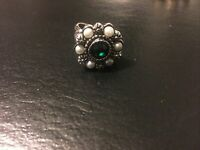 Vintage Sarah Coventry Adjustable Ring Faux Pearls And Green Rhinestone #2