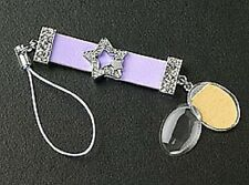 Photo Cell Phone Charm Oval Dangle Crystal Star Slider on Purple Leather Strap