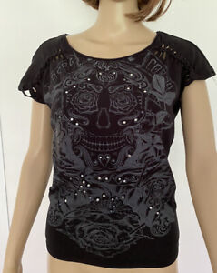 Fox Racing Skull Day Of The Dead Button Black Grey Top Size S