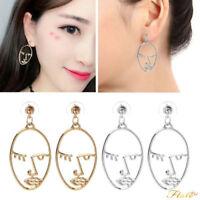 1 Pair Gold/Silver Geometric Moon Body Face Statement Dangle Earrings For Women