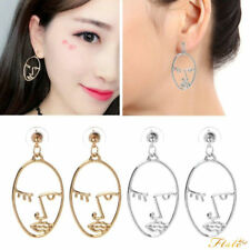 1 Pair Gold/Silver Geometric Moon Body Face Statement Dangle Earrings For Women