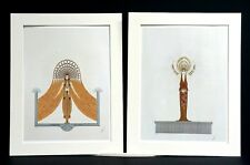 Pair of Erte Prints 1987 CIRCE and DIANA GODDESSES MAGIC ANIMALS Matted Print