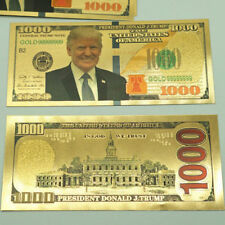 1x US President Donald Trump Gold Foil $1000 Dollar Commemorative Banknote Bill
