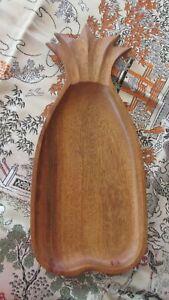Vintage  Wood Bowl Monkey Pod 70s  Pineapple Dish 36cms