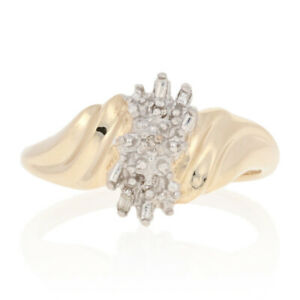 Yellow Gold Diamond Ring - 10k Round Brilliant & Baguette Cut Accents Bypass