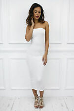 Womens Ladies Strapless Bandeau Maxi Stretch Bodycon Party Pencil Dress UK 8 off White