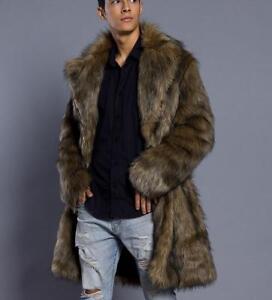 Men's faux fox Fur parkas brown Long Parka Overcoats fur jacket Coat Outwear