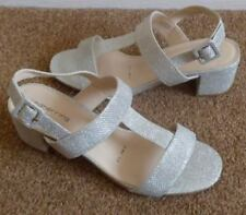 DEBENHAMS SILVER SPARKLE T BAR LOW STRAPPY SANDALS UK 5 NEW WEDDING PARTY HOLS