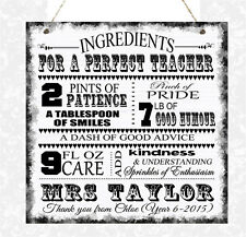 Personalised Teacher Class Sign Plaque Gift Thank You School Teaching Assistant