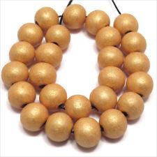 Lot de 40 perles rondes en Bois 10mm Doré