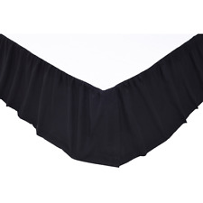 SOLID BLACK QUEEN Bedskirt Dust Ruffle Rustic Primitive Cotton Skirt VHC Brands