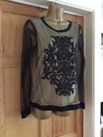 Lovely Black & Beige Lace Overlay Top By Next Size 12
