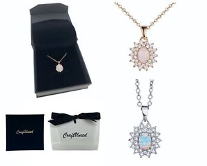 Craftuneed zircon opal stone pendant necklace women silver plated necklace gift