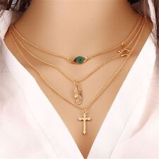Multi Layer Gold Star Leaf Clavicle Chain Cross Evil Eye Necklaces & Pendants
