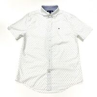Tommy Hilfiger Men's Micro Pattern Short Sleeve Custom Fit Poplin Shirt In White