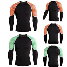 Men Compression Top Shirt Base Layer Workout Running Under Skin Gym Muscle Tee<
