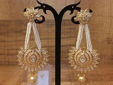Bollywood Ring ChandBali Jhumki Drop Down Pearl Moti White Color Crystal Earring