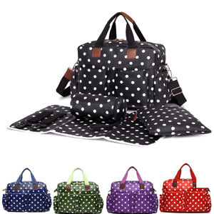 4pcs Waterproof Polka Dot Wipe Clean Mummy Maternity Changing Bag Set Diaper