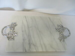 White Marble Cheese Tray Cutting Board w/ Silver Leaf Design Handles   VGC
