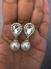 "1.5"" Long Cream Pearl Clear Gold White Crystal Pageant Bridal Dangle Earrings"