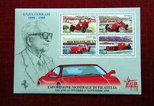 1998 ITALY sheet 4 stamp MNH  Auto FERRARI Day World Exposition Filatelia