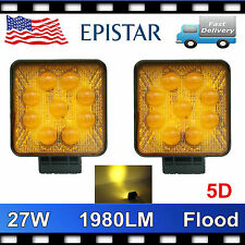 2X 27W Flood Square LED Work Light Offroad Boat Amber Warning Lamp Truck SUV 5D+