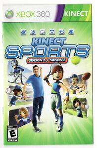 Kinect Sports Season 2 Microsoft Xbox 360 X360 Instruction Manual
