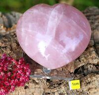 Large ROSE QUARTZ HEART + FREE LUXURY STAND - 376g !!  Crystal Healing Chakra