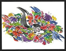WARNER BROS LOONEY TUNES PEPE LE PEW BOUQUET GICLEE PROMO CARD FLOWERS