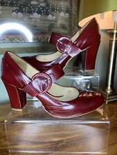 Clarks Active Air High Gloss Burgundy Mary Jane Heeled Shoes Size  5 / 38