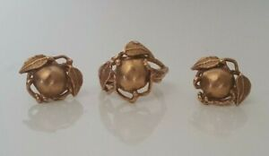 9k solid rose gold ring & earrings set 9.40g / ring size O 1/2 - 7 1/4